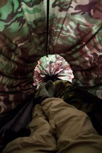 Inside my Clark Hammock on a camping trip